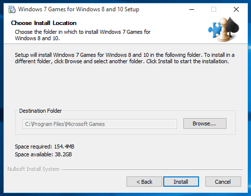 destination folder for Windows games installation