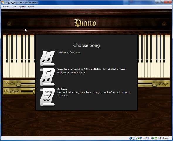 choose song to play with Piano in Windows 8