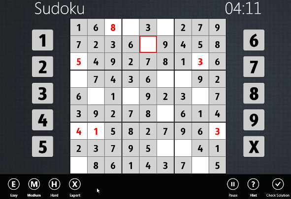 Sudoku games difficulty levels for Windows 8 users