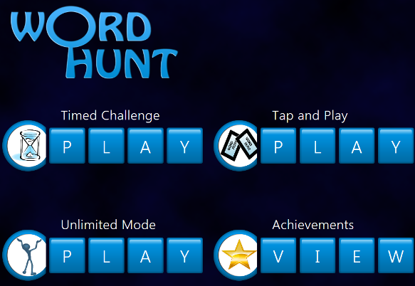 Word Hunt Windows 8 game options