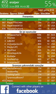 Wordament Windows 8 game rank and frenemies