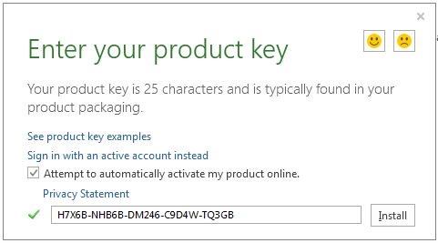Enter your product key for Microsoft Office 2013