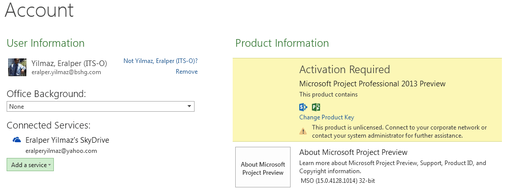 Microsoft Project 2013 activation and account details