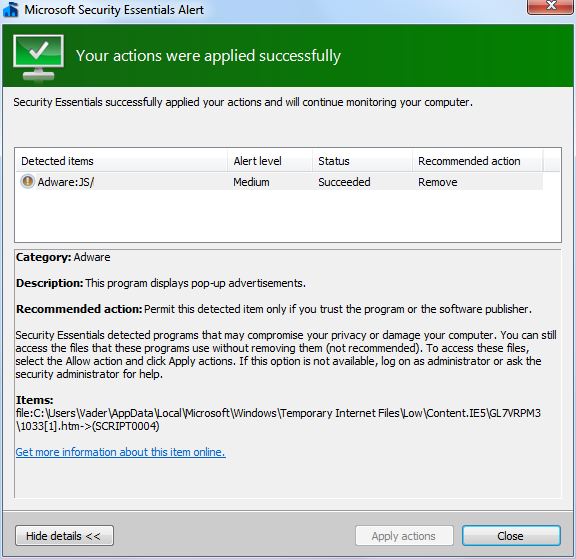 Microsoft Security Essentials Alert potential threat details