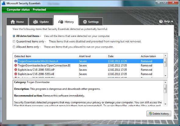 Microsoft Security Essentials alert review