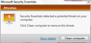 Security Essentials detected a potential threat