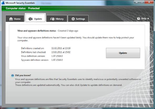 Microsoft Security Essentials Update download