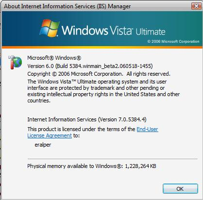 Internet Information Services IIS7 Manager