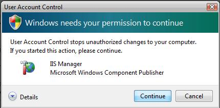 IIS Manager User Account Control