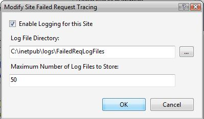 Modify Site Failed Request Tracing for IIS7