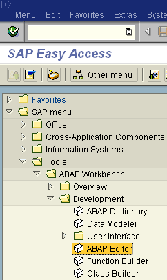 ABAP Editor from SAP Menu
