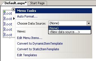 ASP.NET menu control tutorial