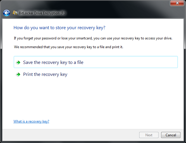 Store Windows 7 BitLocker Recovery Key