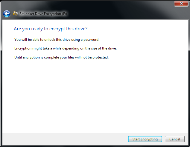 Windows BitLocker Encrypt Drive