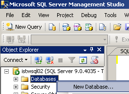 ssms create database