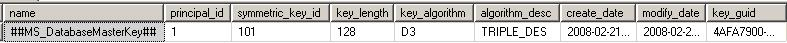 database master key from sys.symmetric_keys