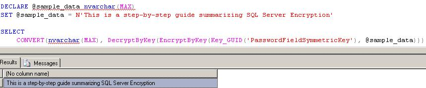 Using Parameters in EncryptByKey and DecryptByKey T-SQL Functions