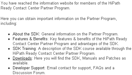 Siemens HiPath Ready Contact Center Partner Program website