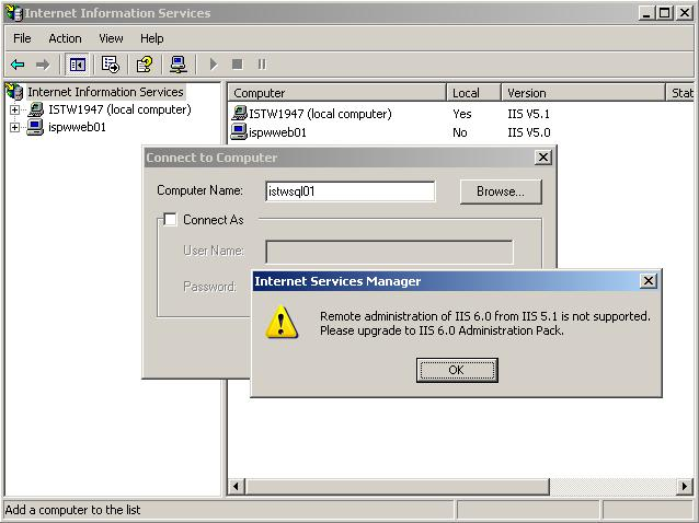 Remote Administration of IIS