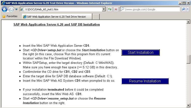 install miniwas SAP Web Application Server