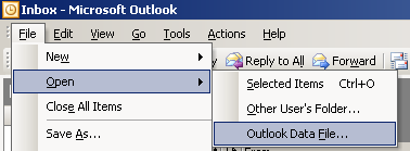 open Outlook PST data file