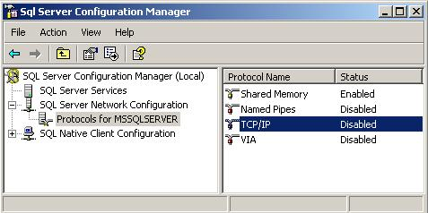 TCP/IP protocol is disabled by default on MS SQL SERVER 2008
