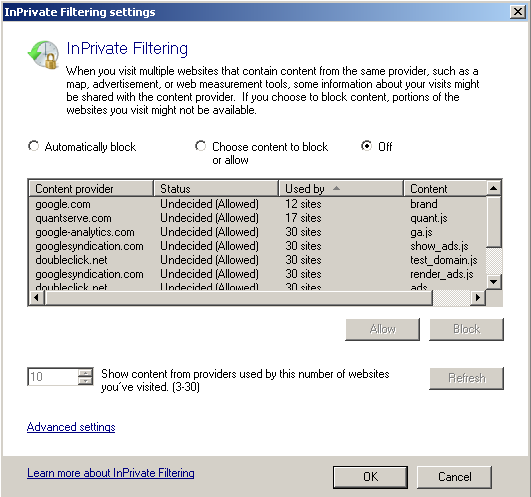 private filtering in ie8