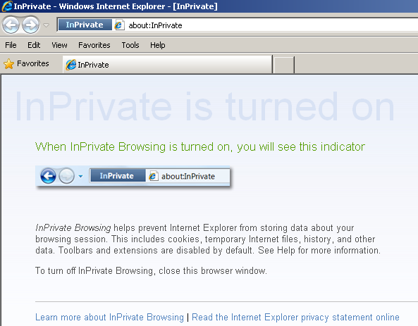 IE8 Private Browsing is turned on