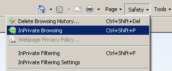 InPrivate Browsing in Safety Menu in IE8