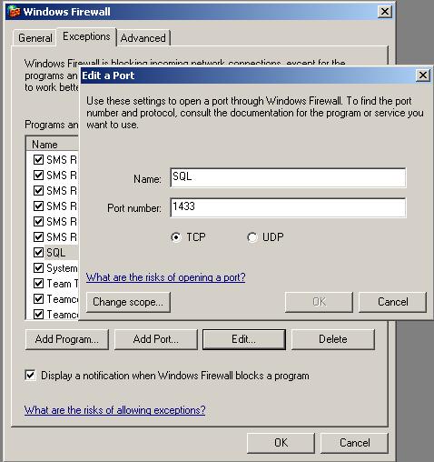 windows firewall configuration for sql server at port 1433