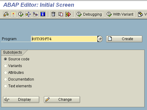 abap-editor-se38-screen-run-rstxpdf4-program-for-generate-pdf-file