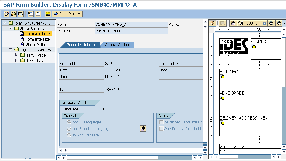 template purchase order sap  SAP Smart Forms Tutorial and Smart Forms Resources