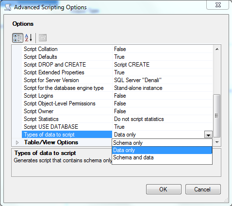 advanced scripting options types of data to script