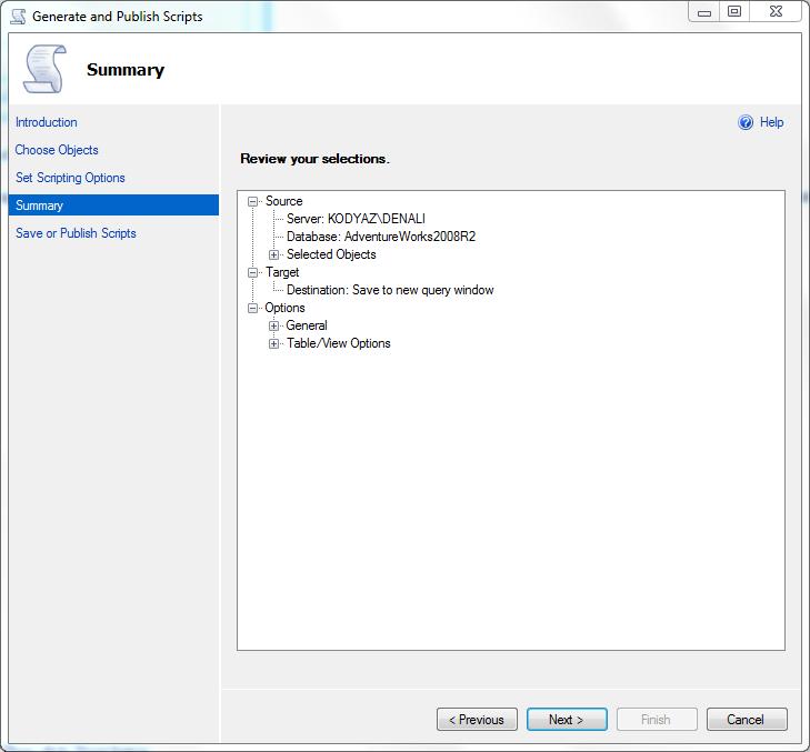 data scripting in SQLServer 2012
