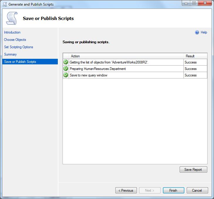 generate database table data script on SQL Server 2012