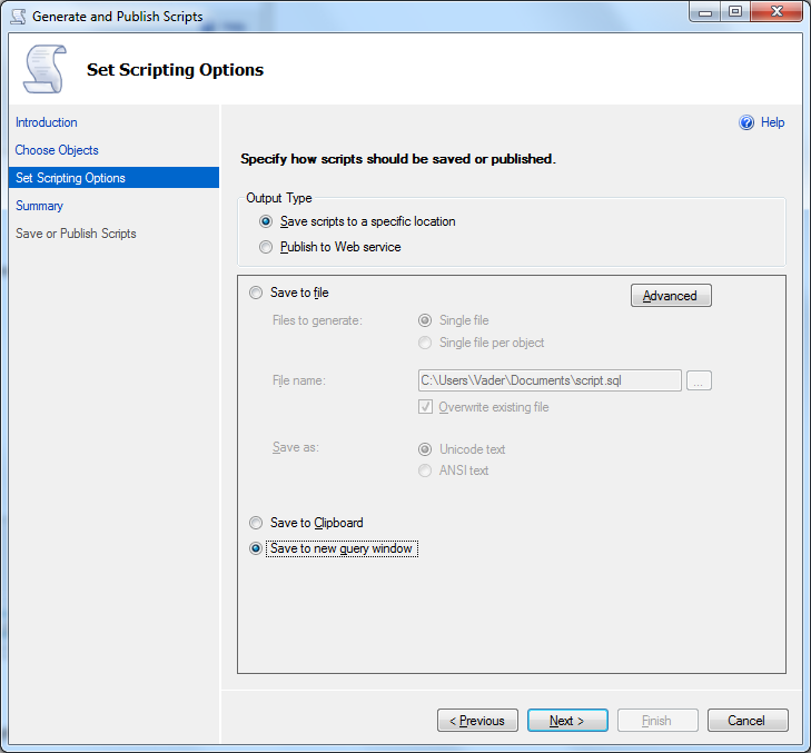 script data with SQL Server 2012 scripting options
