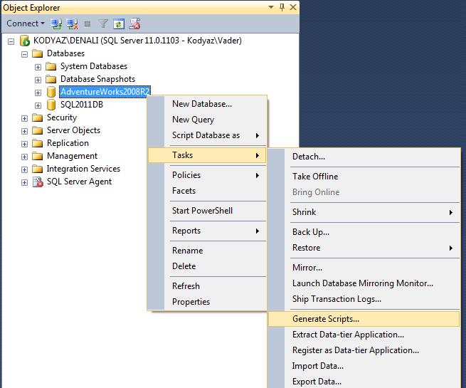 SQL Server 2012 tools Generate Scripts to script data