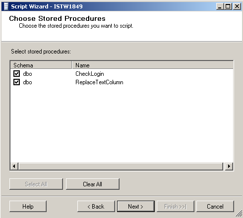 Script all stored procedures