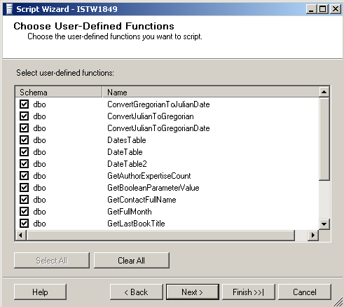 sql script database objects like user-defined functions