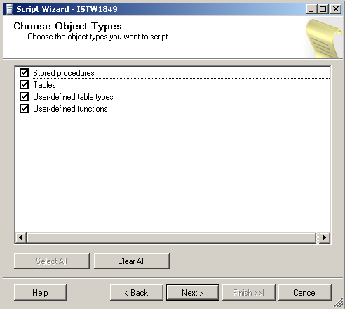 choose sql server 2008 object types for database script