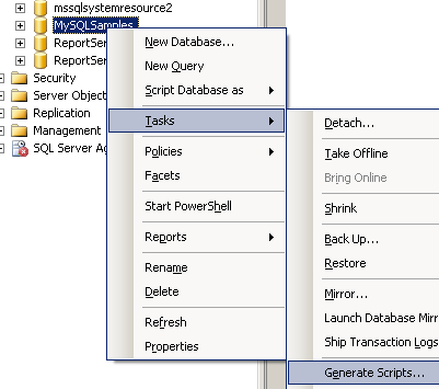 generate sql scripts task on sql server 2008