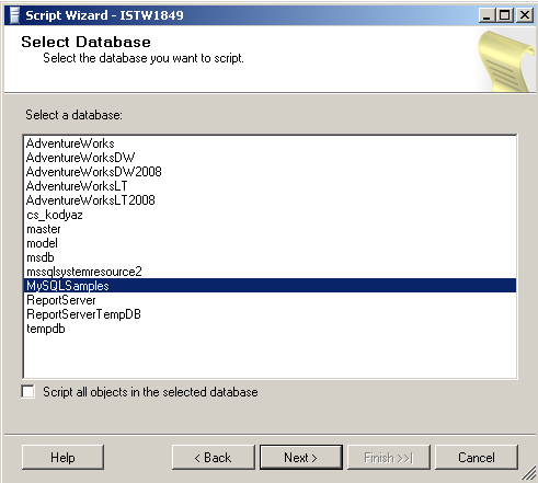 select sql database for scripting database objects