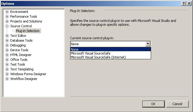 Visual Studio Source Control Plug-in Selection Option