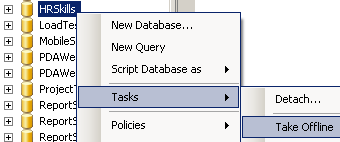 take database offline on MS SQL Server
