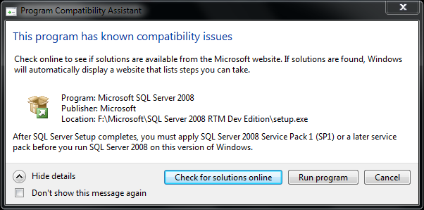 MS SQL Server 2008 installation on Windows 7 requires SQL2008 SP1