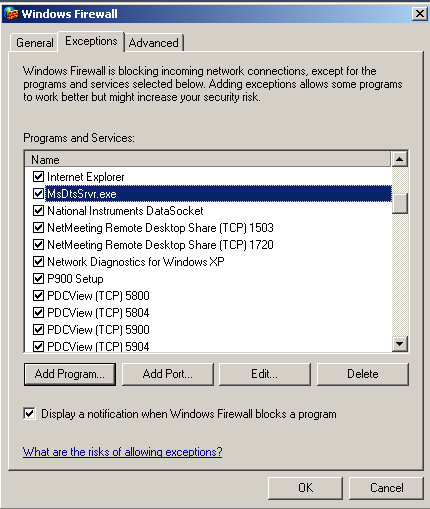 Add MsDtsSrvr as an Exception on Windows Firewall