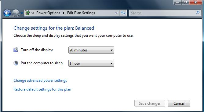 Vista Power Plans Edit Settings