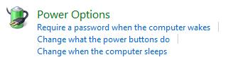 Windows Vista Power Options
