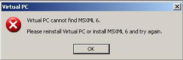 Virtual PC 2007 MSXML 6 error