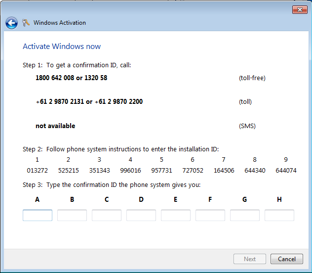 How to activate windows 7 by phone step by step guide for Furniture 7 phone number